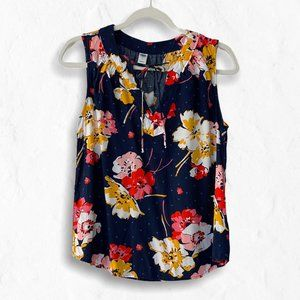 Old Navy Tie-Neck Sleeveless Floral Blue Tank M
